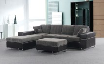 2 Piece Gray Sectional Sofa With Ottoman