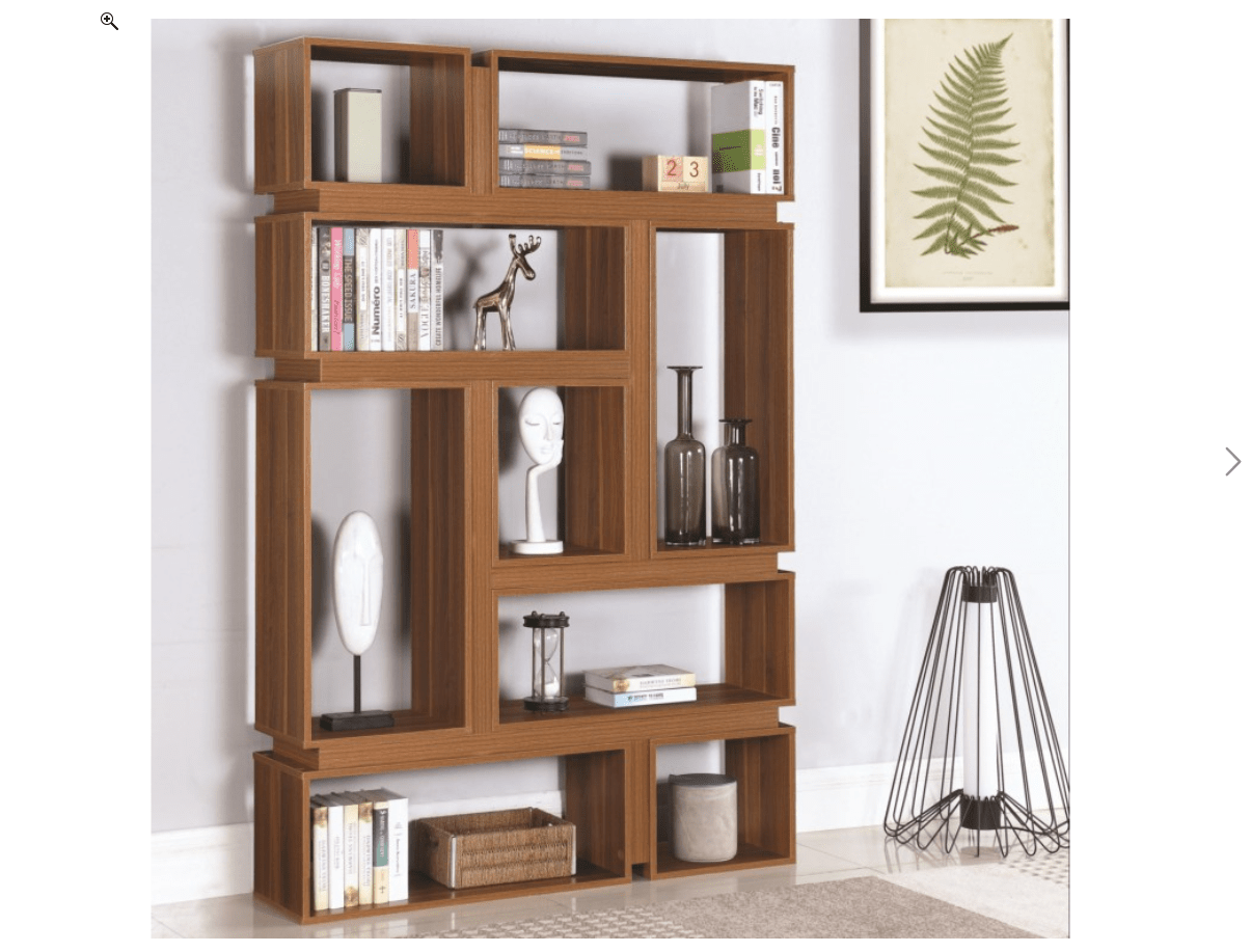 Modern Geometric Bookcase With Light Walnut Finish By Coaster