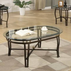 3 Piece Table Set For Living Room Design Ideas Curtains Bronze Metal Coffee With Clear Glass Beveled Oval Shaped