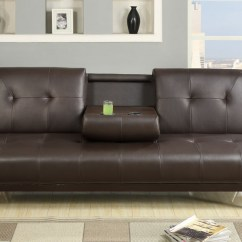 Cup Holder Sofa Bed Signature Design By Ashley Reclining Espresso Faux Leather With Holders