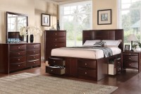 Queen Espresso Finish Solid Wood Platform Bed Frame with ...