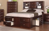 Espresso Solid Wood Queen Bed Frame w/ Drawers and ...