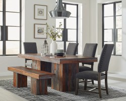 Binghamton Rustic Dining Table Set with Bench color option U