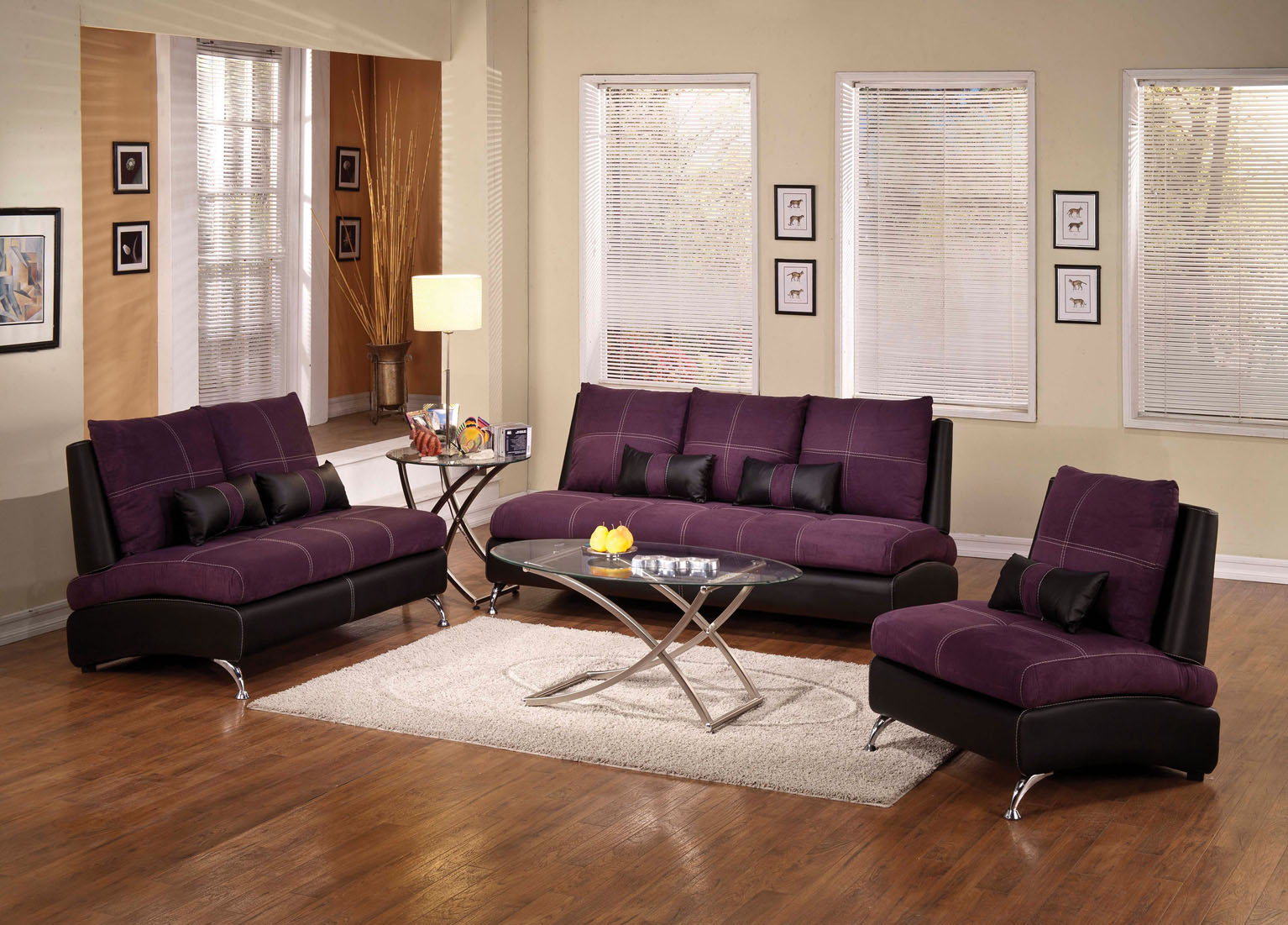 suede living room furniture media center 2 piece purple sofa set umf51750 jpg