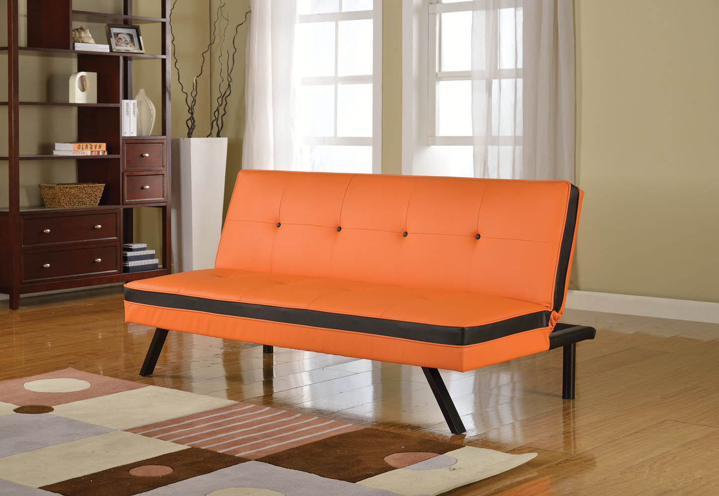 orange and black sofa bed guest bedroom prev