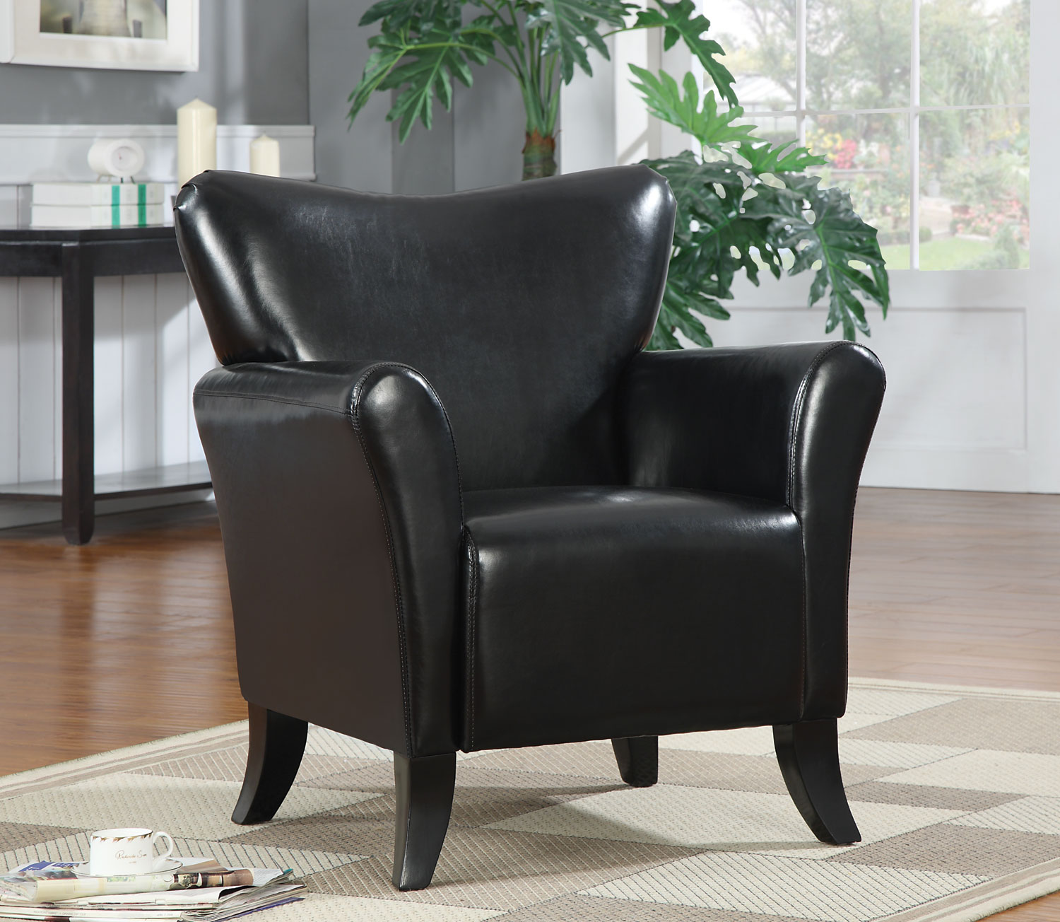 Black Faux Leather Accent Chair