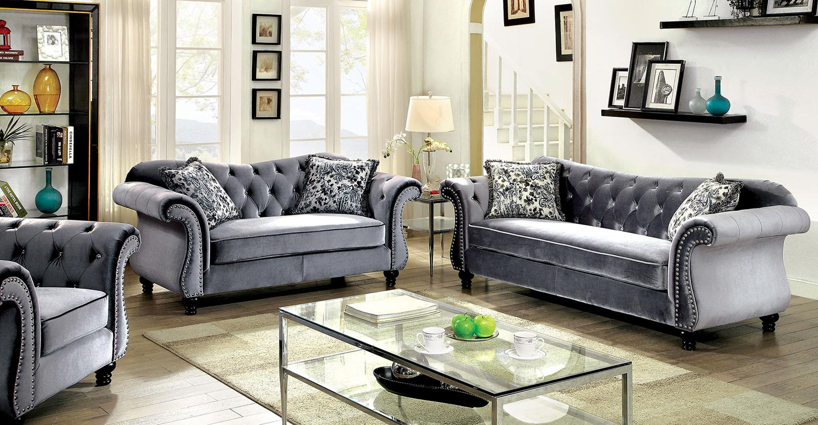glam sofa set cheap corner sofas london grey flannelette fabric top