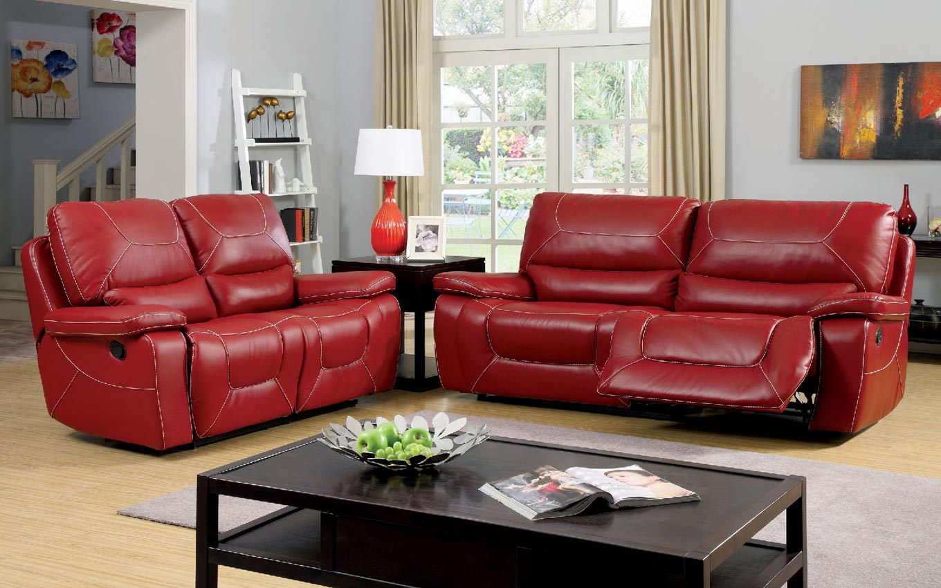 There's some contrast, however, with the dark color of the woods coming from the cabinets and piano set. 2 Pcs Red Leather Sofa Set