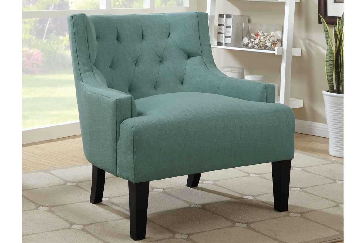 Upholstered Light Blue Accent Chair