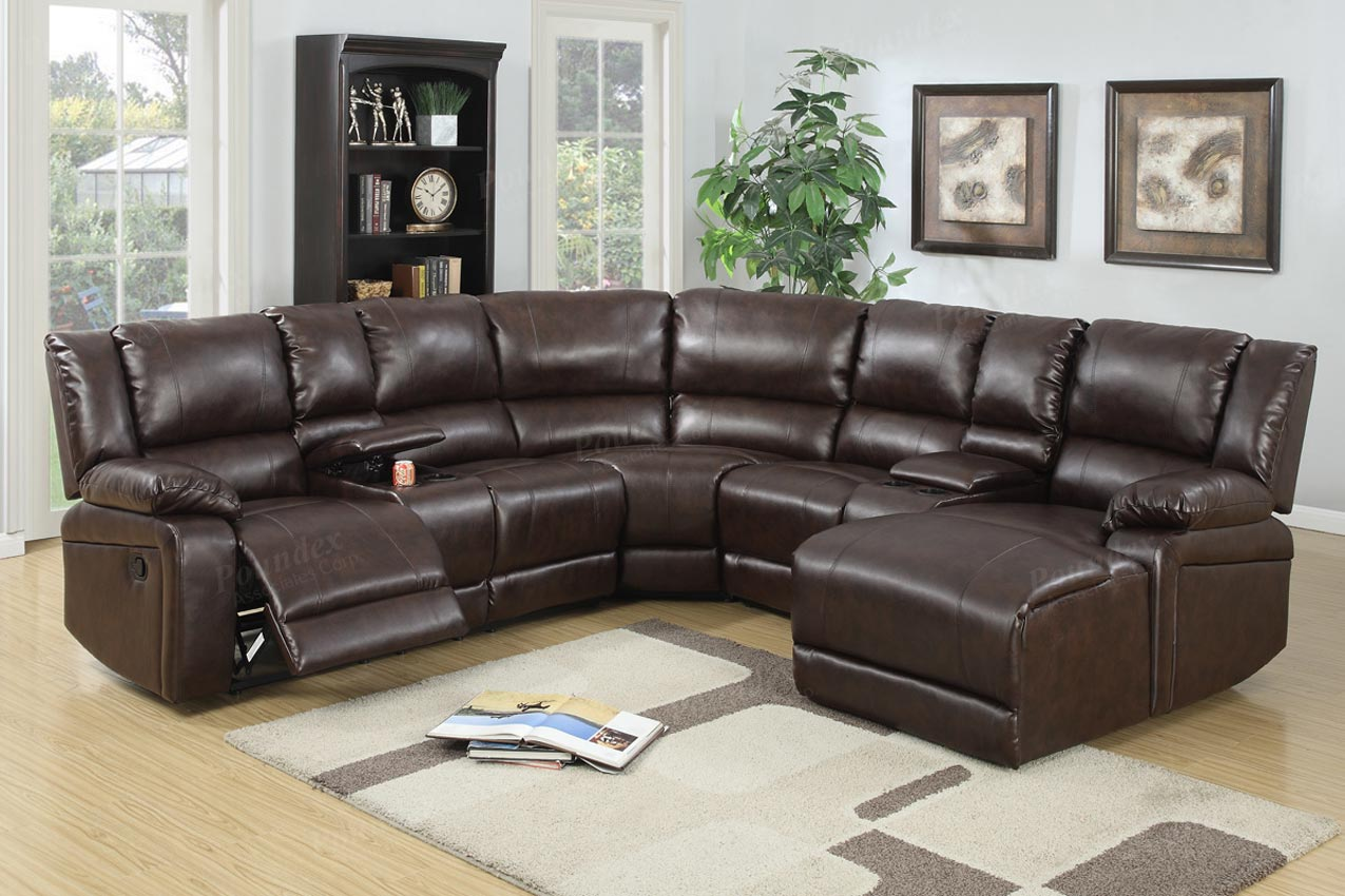 reclining sofa leather sectional moheda corner bed 5 pcs brown set
