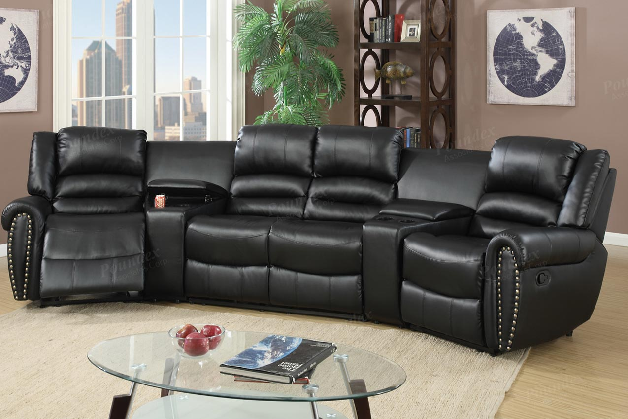 entertainment sofa sets 2 cushion 5 pcs reclining home theater black sectional