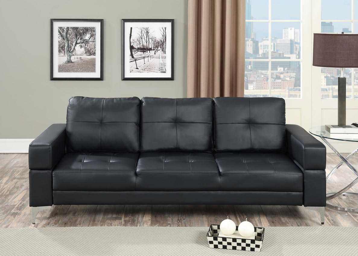sofa bed black faux leather ethan allen sleeper futon adjustable
