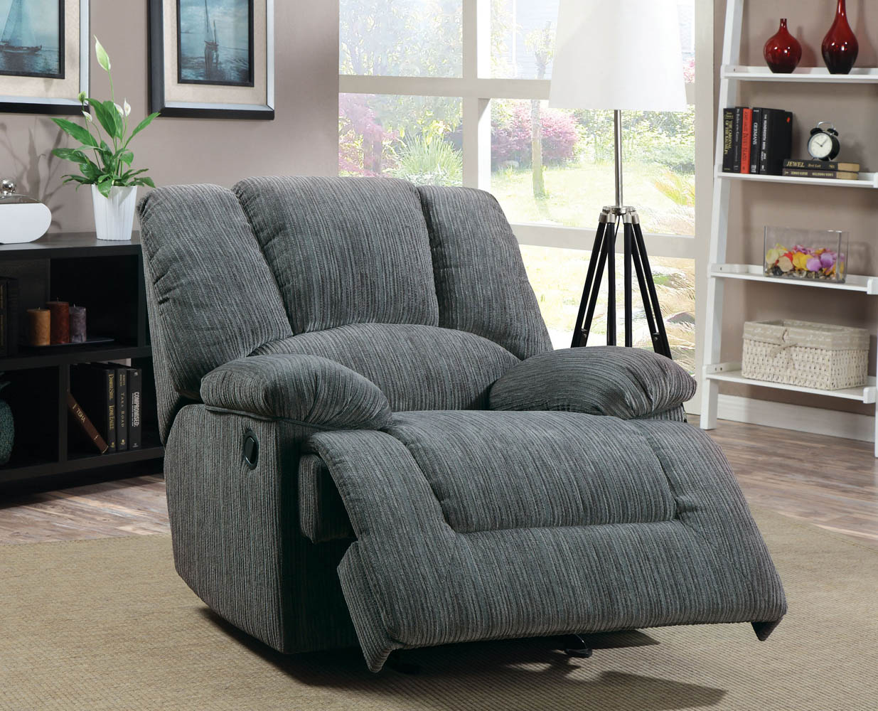 Gray Chenille Fabric Recliner