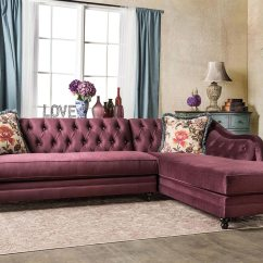 L Shaped Couch Small Living Room Ideas Wall Paint Velvet Fabric Plum Sectional