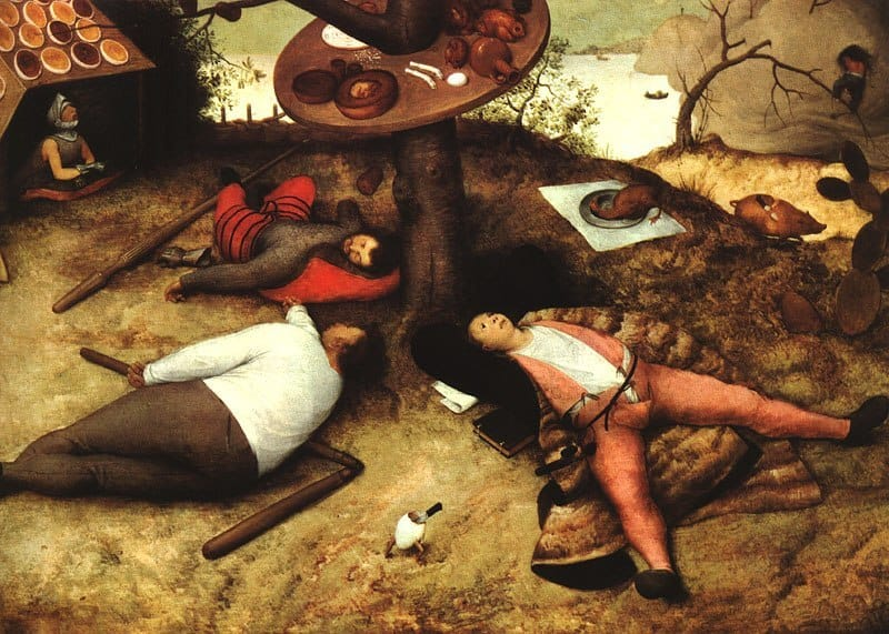 A scholar, a peasant and a knight under a tree in the Land of Plenty. Pieter Bruegel the Elder -- The Land of Cockaygne, 1567