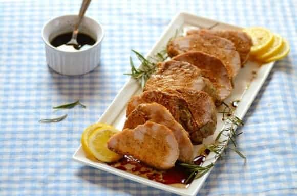 Garlic Pork Loin with Wine Sauce