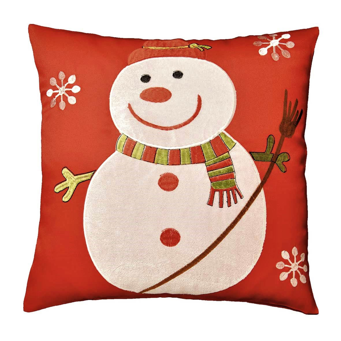 christmas chair back covers uk bouncy saucer snowman applique cushion cover red 42x42cm