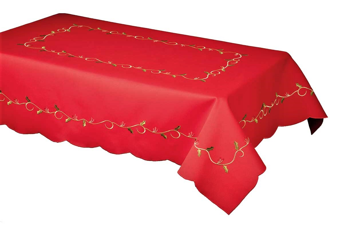 luxury christmas chair covers chairs and tables rentals holly vine red embroidered tablecloth 178x280cm