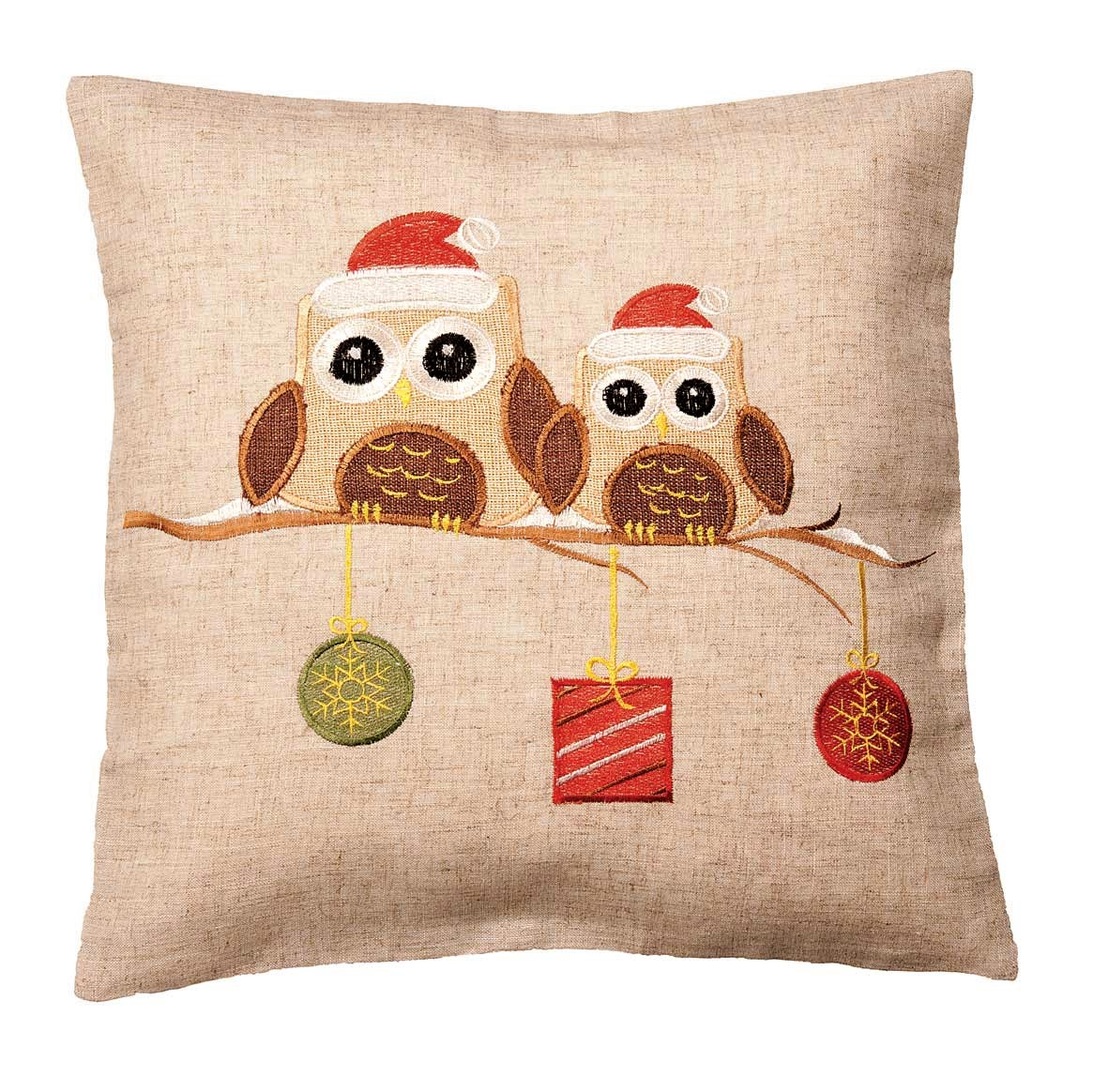 christmas chair back covers uk design and price owls on a branch cushion cover 43x43cm 16x16