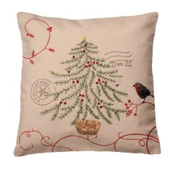 Christmas Chair Back Covers Uk Portable Massage Chairs Robin And Tree Postmark Cushion Cover 43x43cm