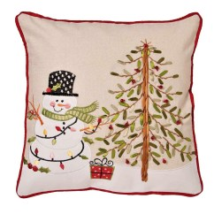 Christmas Chair Back Covers Uk Captains Chairs Dining Room Snowman And Tree Cushion Cover Embroidered Applique