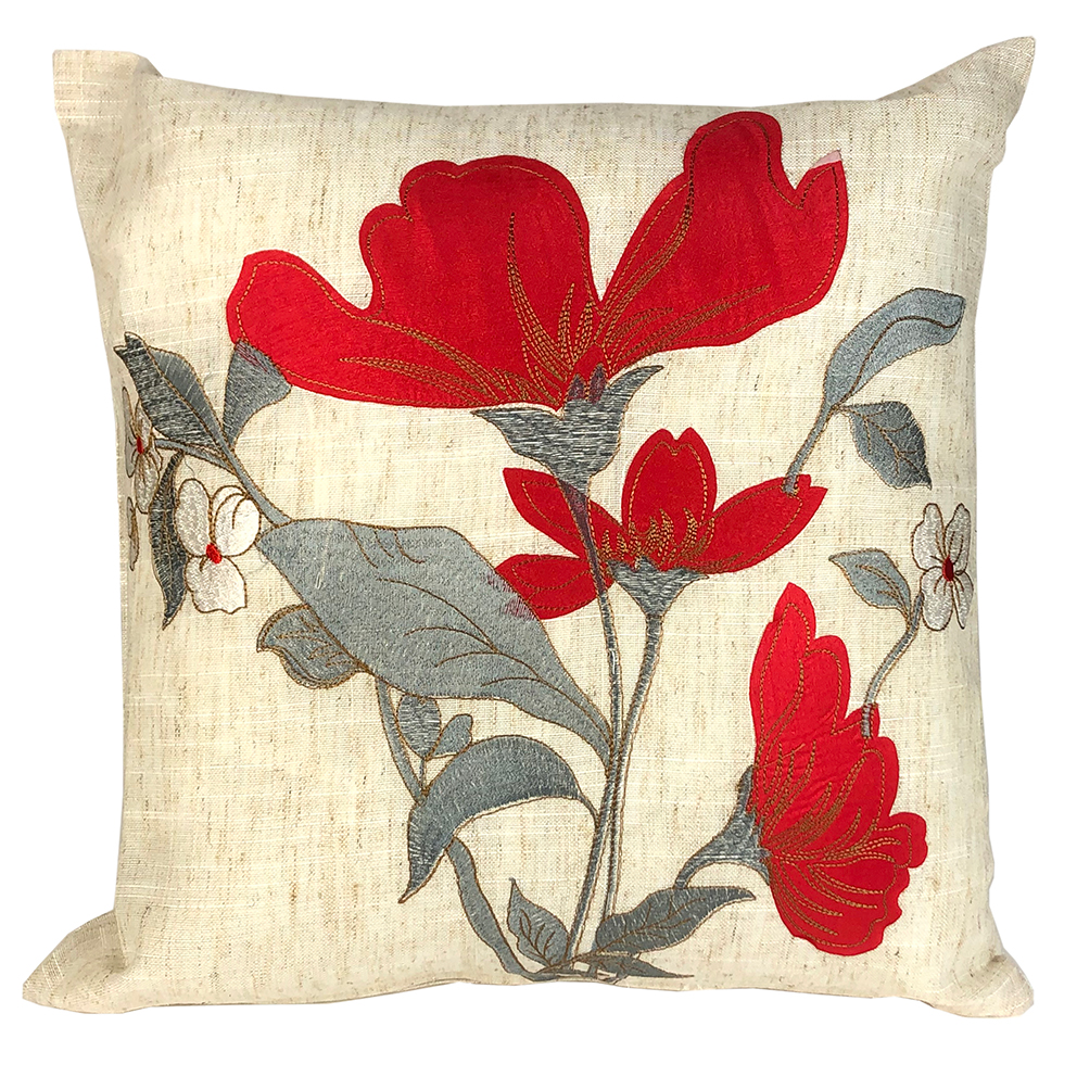 jasmin embroidered floral red silver cushion cover 43 x 43 cm 16 x 16 square