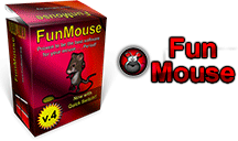 The Fun Mouse program shown with the logo and the package, both in red