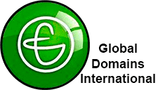 The GDI logo, white in a green circle and Global Domains International written beside it