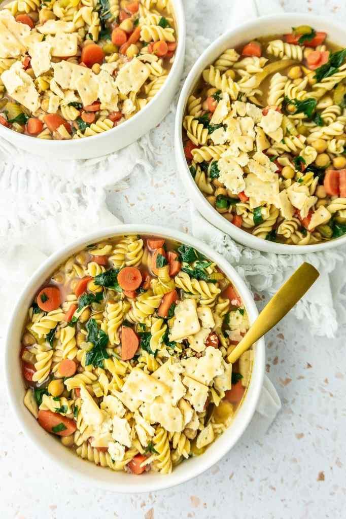 Bowls of chickpea noodle soup