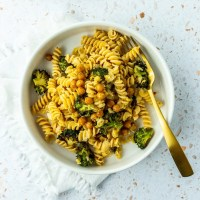 Bowl of Lemon Broccoli Chickpea Pasta