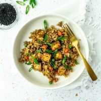 Bowl of vegan tofu fried rice