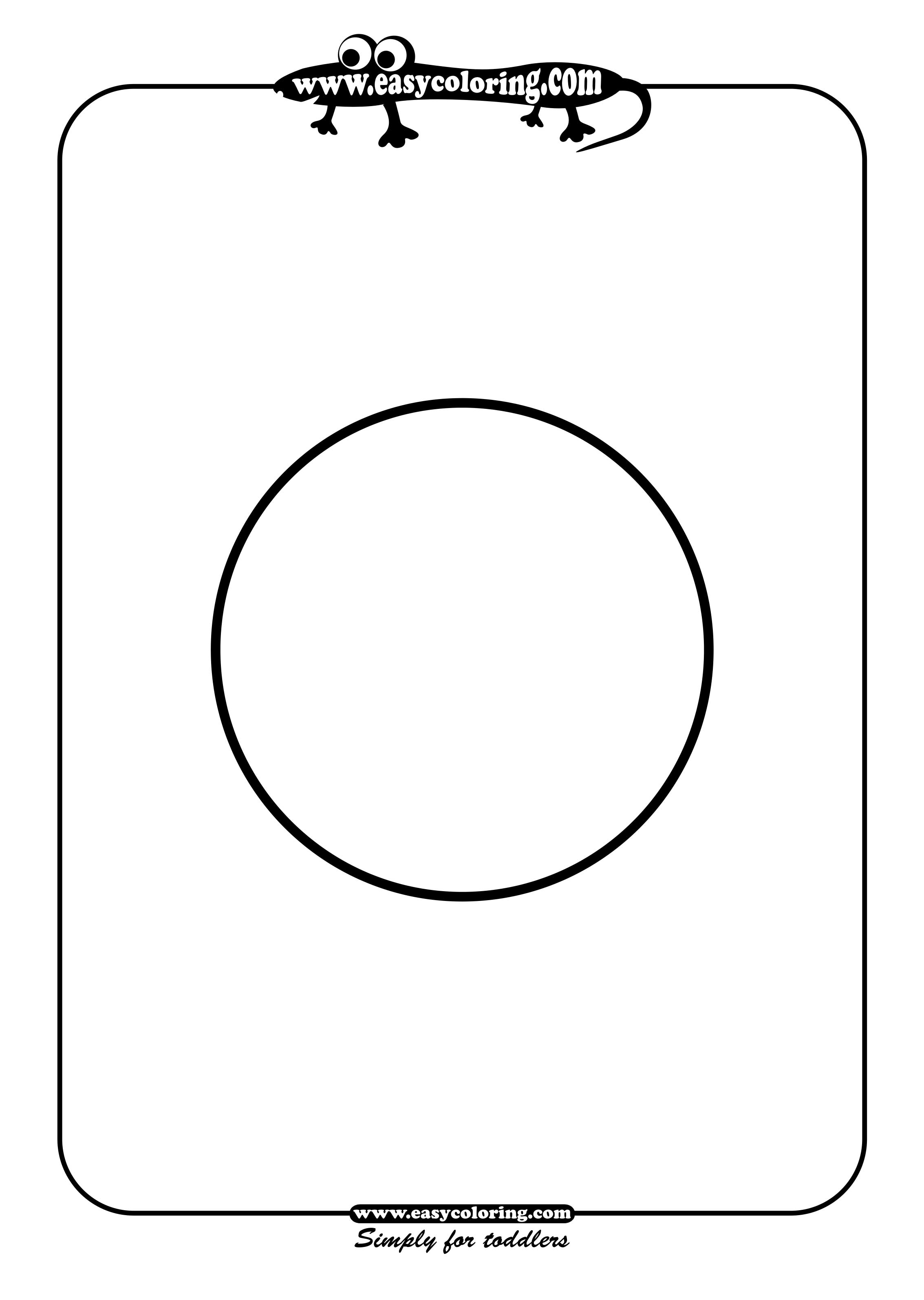 Round Simple Shapes Easy Coloring Pages For Toddlers