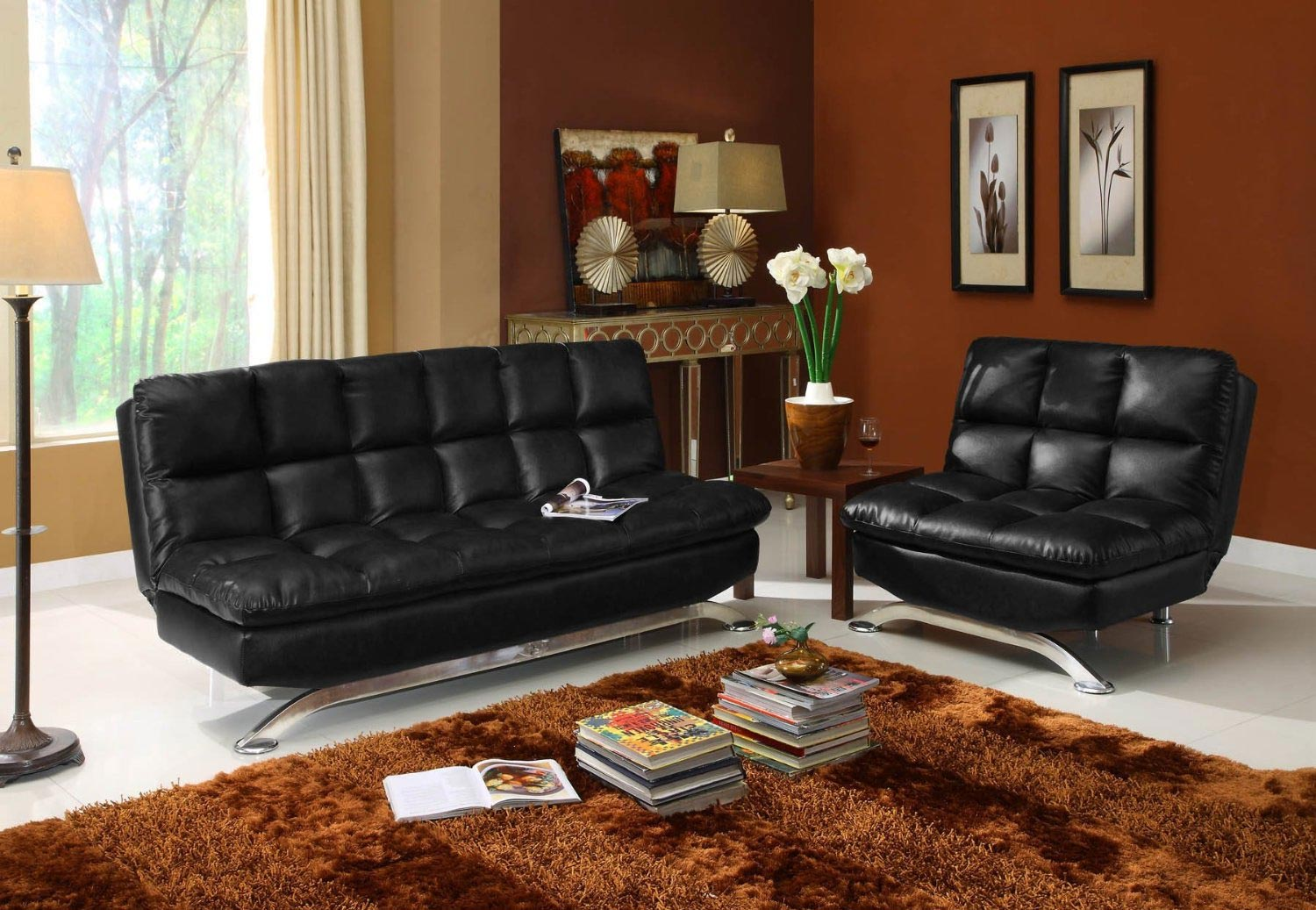 contemporary leather sofa bed curved corner dfs black faux futon $441