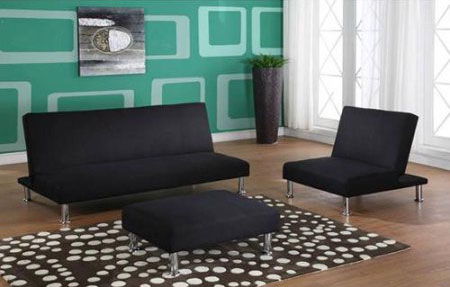 futon and chair set small kitchen table chairs klik klak 3 piece what you should know klack in black with sofa ottoman