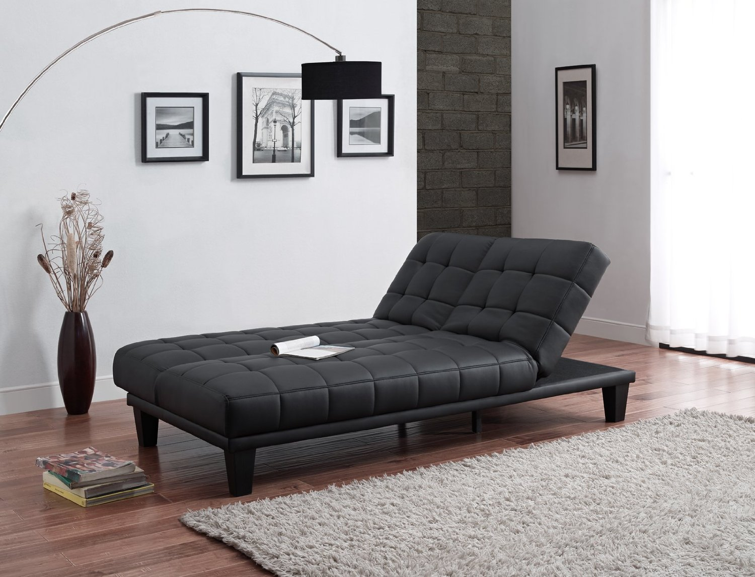 convertible futon sofa bed lounger chaise cover julia with black