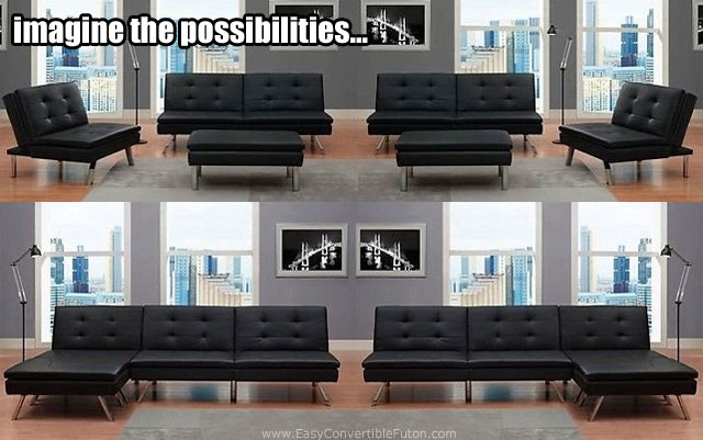 futon and chair set slingback beach chairs modern black faux leather gone wild imagine the possibilities of arrangements