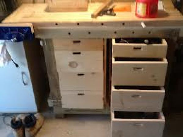 DIY wooden workbench with drawers