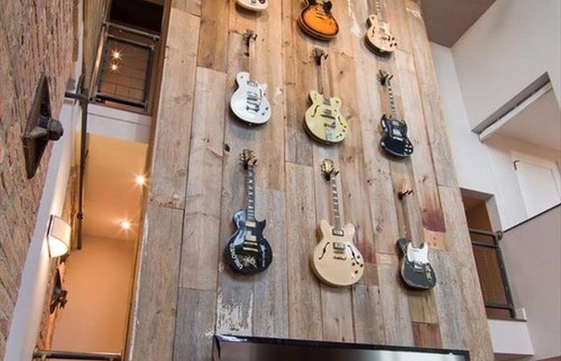 DIY Wooden Guitar Wall