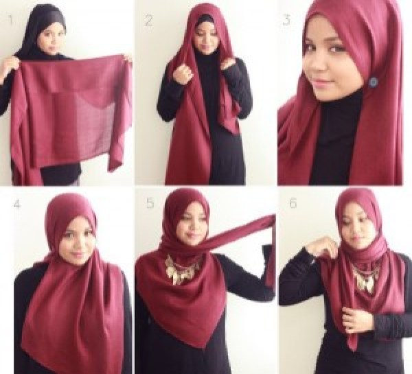 DIY Red Tutorial Hijab