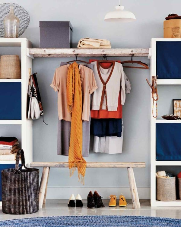 DIY Ladder Cloth Storage Racks