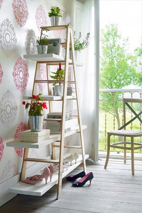 Build Storage shelves from wooden ladder