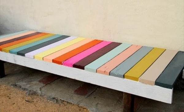 homemade colorful pallet bench