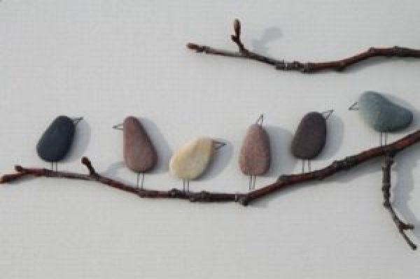 DIY Wall stone birds
