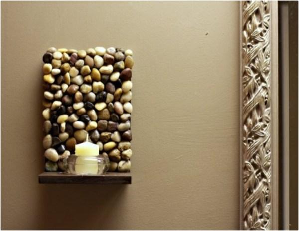 DIY stone candle holder