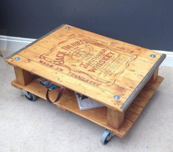Wooden pallet coffee table easy diy and crafts for Table jack daniels