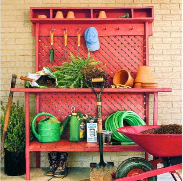 all red cute potting bench