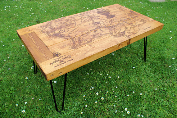 pallet coffee table with Tolkien's Map