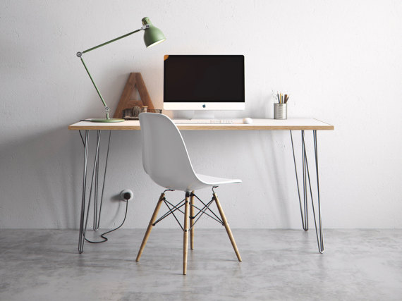 DIY hairpin desk