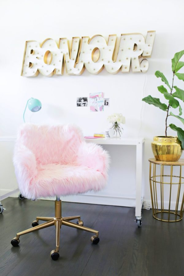 DIY pink faux fur office chair