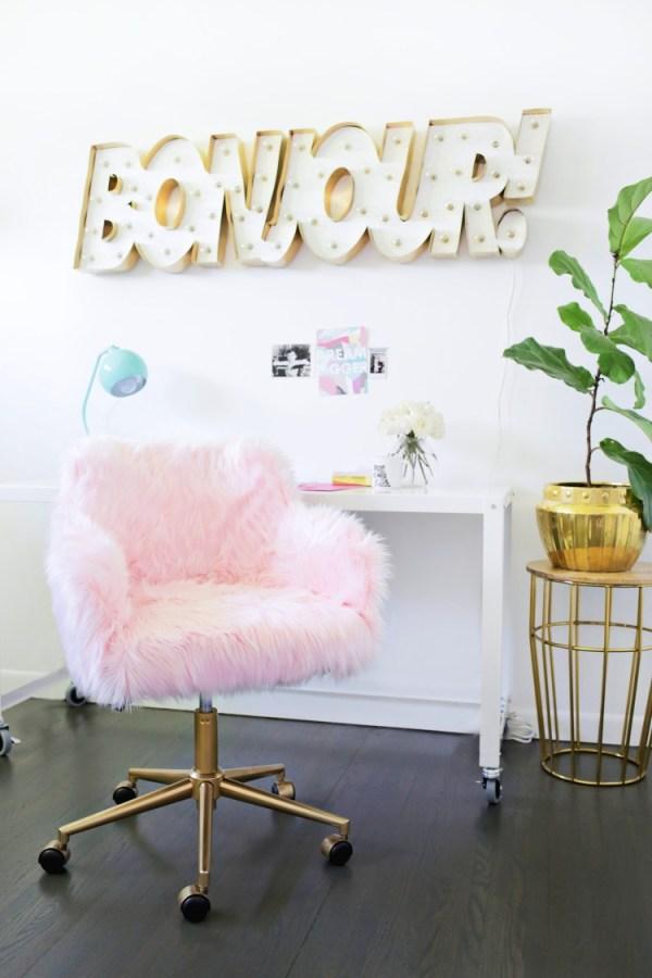DIY pink faux fur office chair